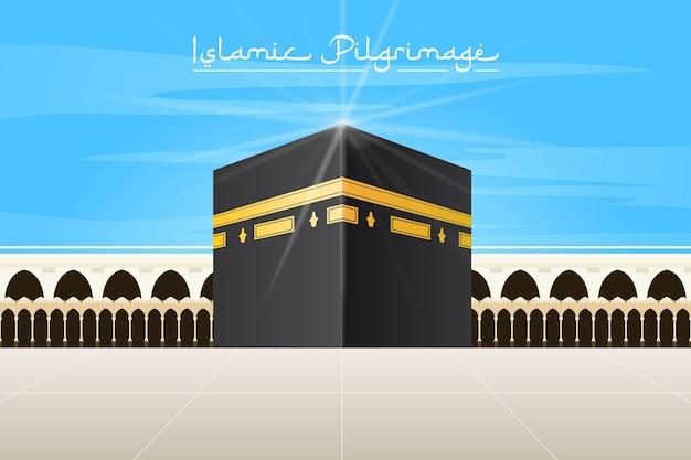 Realistische islamische pilgerfahrt und blauer himmel