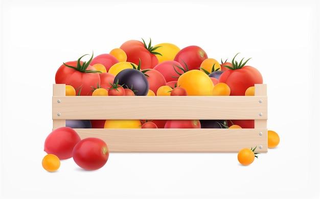 Realistische isolierte illustration der tomatenbox