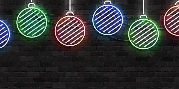 Realistische isolierte leuchtreklame der weihnachtskugeln für frohe weihnachten und ein frohes neues jahr für einladungsdekoration