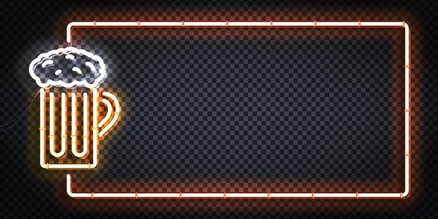 Realistische isolierte leuchtreklame des bierbecherrahmens