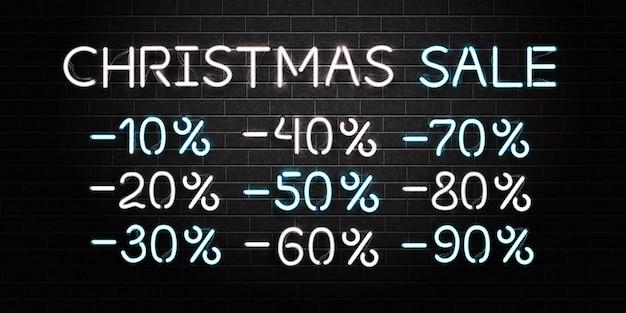 Realistische isolierte leuchtreklame des weihnachtsverkaufslogos auf dem wandhintergrund. konzept des guten rutsch ins neue jahr.