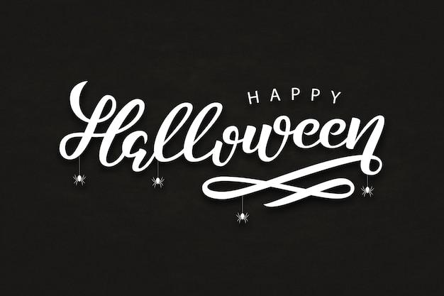 Realistische isolierte typografie für halloween und spinnen für dekoration und bedeckung auf dem dunklen hintergrund. konzept des glücklichen halloween.