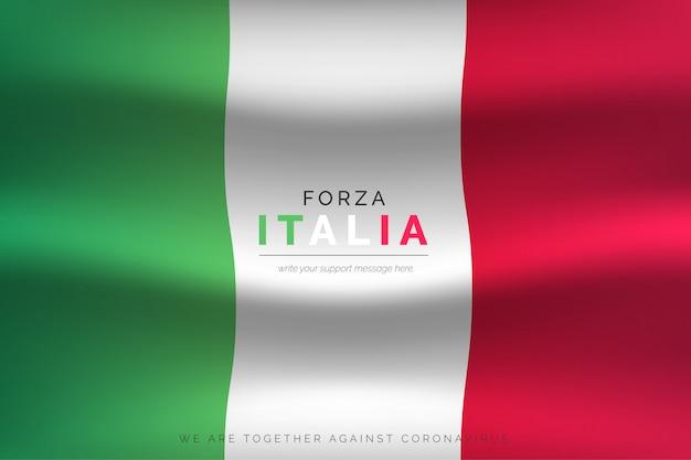Realistische italienische flagge mit unterstützungsnachricht