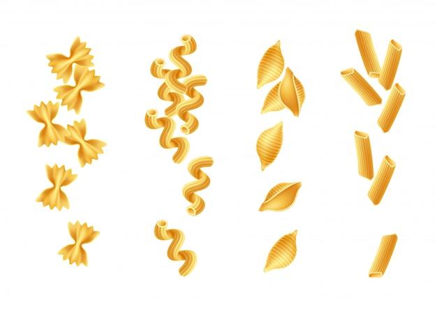 Realistische italienische pasta spaghetti arten gesetzt. farfalle, rigatoni, conchiglie und cavatappi.
