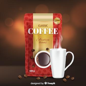 Realistische kaffee werbung