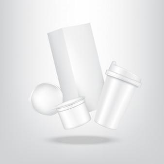 Realistische kaffeekapsel, kartonpackung und tasse für lebensmittel- und getränkeverpackungen