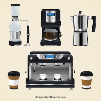 Realistische kaffeemaschine pack