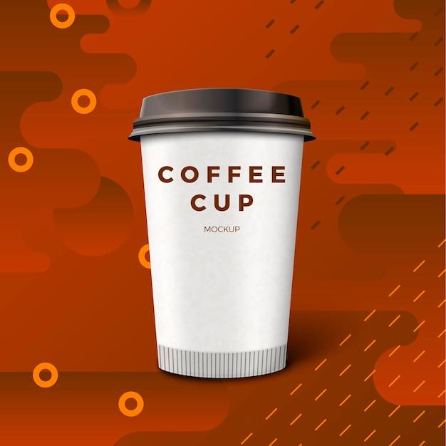 Realistische kaffeetasse 3d auf dunklem abstraktem hintergrund