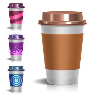 Realistische kaffeetasse zum mitnehmen aus papier