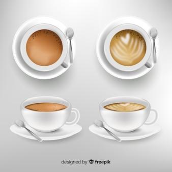 Realistische kaffeetassensammlung