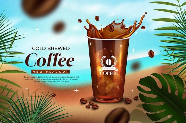 Realistische kalt gebrühte kaffeeanzeige