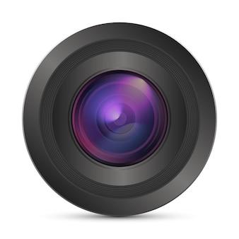 Realistische kamera-fotolinse vektor-3d-symbol mit aufflackern-symbol in der vorderansicht