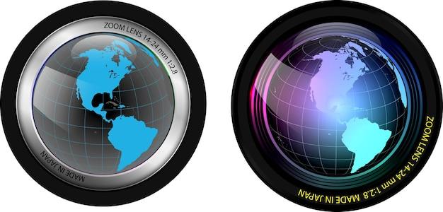 Realistische kameraobjektive isolierten zwei professionelle fotoobjektive mit verschlussklinge