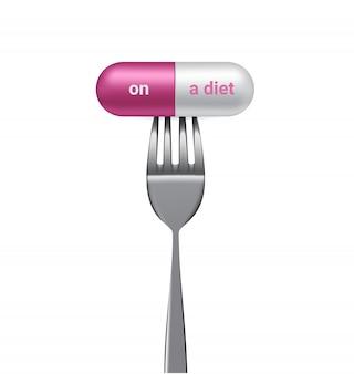 Realistische kapsel- oder pillenmedizin mit auf diät und gabel. süchtiger nach slim body isoliert