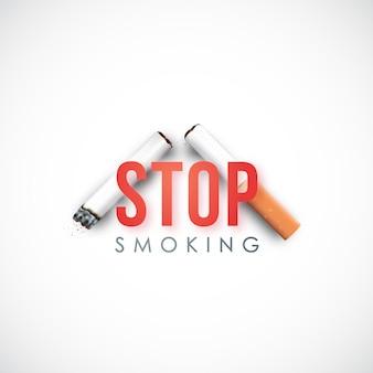 Realistische kaputte zigarette und text hör auf zu rauchen.