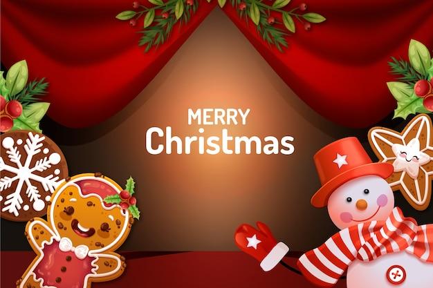 Realistische karikatur mit weihnachtscharakteren