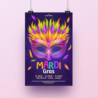 Realistische karneval flyer vorlage