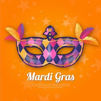 Realistische karneval mit mehrfarbiger maske