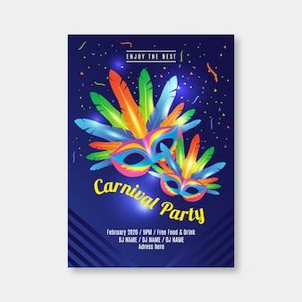 Realistische karneval party flyer vorlage