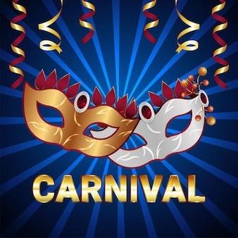 Realistische karnevalsfeier-grußkarte und hintergrund