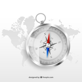 Realistische karte kompass hintergrund