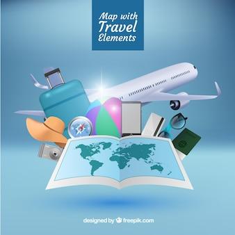 Realistische karte mit reiseelementen