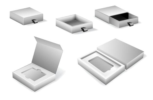 Realistische karton-schiebebox oder faltschachtel-geschenk mit magnet oder karton-mock-up oder bh