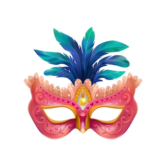 Realistische karvinale maskenkomposition mit isolierter darstellung der maskenmaske mit blauen federn und violettem körper