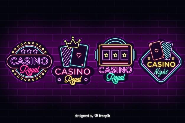 Realistische kasino-neonzeichensammlung