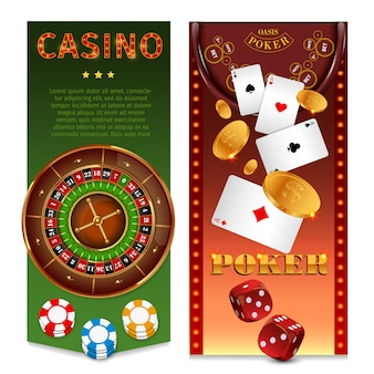Realistische kasinospiele vertikale banner mit roulette-chips spielkarten pokertisch goldmünzen würfel