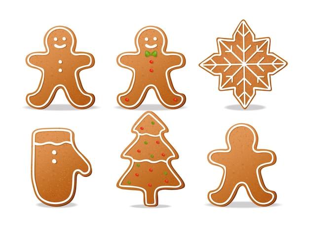 Realistische kekse setzen isoliert, weißer hintergrund, teigelemente, kekse