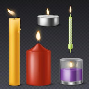 Realistische kerze. romantisches geburtstagsfeiertagswachs des kerzenlichts brennt 3d kerzen warmes feuer abendessen feier symbol
