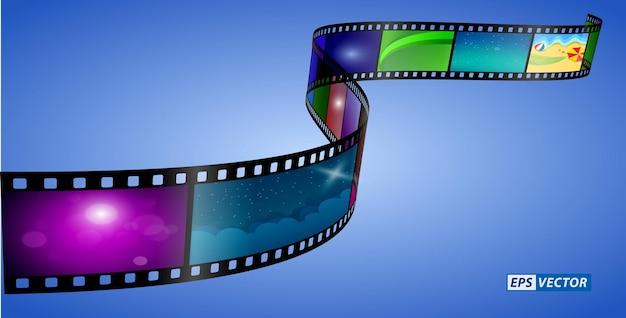 Realistische kinoklappe isoliert oder filmstreifen kino 35mm typ
