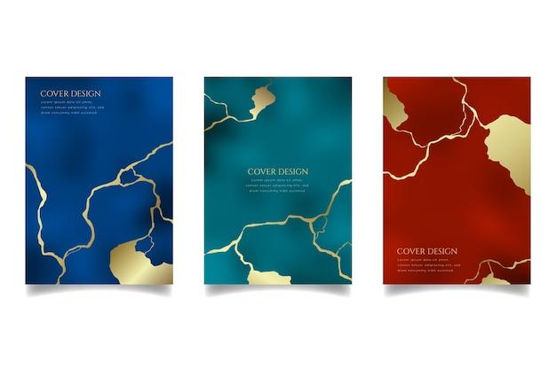Realistische kintsugi-cover-kollektion