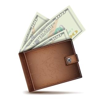 Realistische klassische braune geldbörse