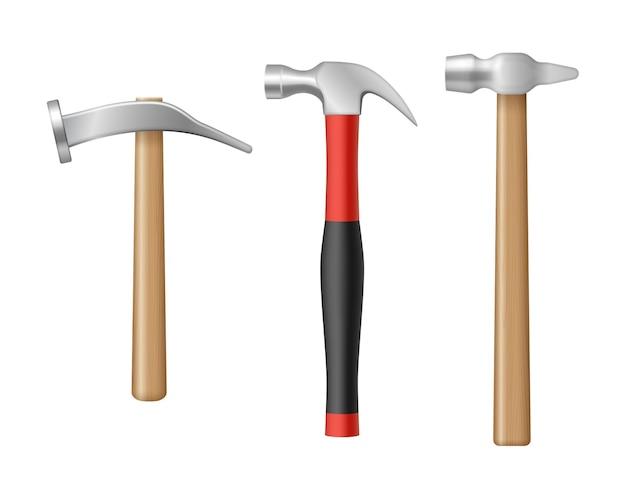 Realistische klauenhämmer mit gummi- und holzgriff. sammlung von tischlerarbeitsinstrumenten für den renovierungsservice. 3d-vektor-illustration