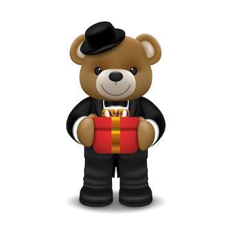 Realistische kleine niedliche lächelnde bärenpuppe tragen smokingcharakter, der eine geschenkbox hält und lokalisiert auf weißem hintergrund steht. valentinstag und liebe konzept illustration design.