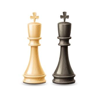 Realistische könig schachfiguren schwarz und weiß