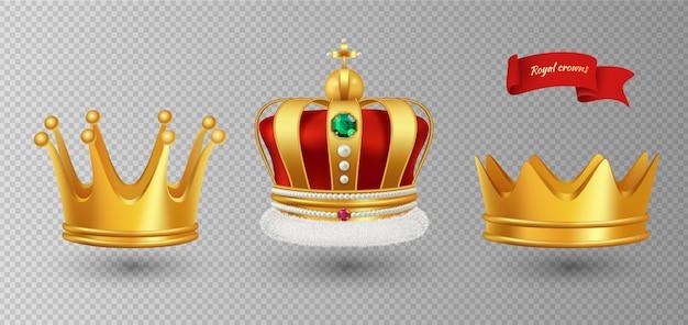 Realistische königskronen. antike diademdiamanten und -juwelen der luxusmonarchie der monarchie und der goldkronen lokalisiert auf transparentem hintergrund