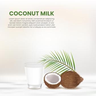 Realistische kokosnuss und ein glas kokosmilch