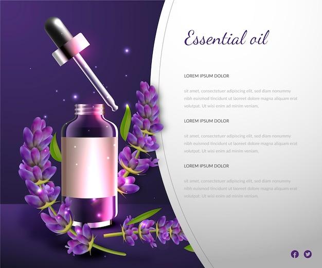 Realistische kommerzielle vorlage für ätherisches lavendelöl Kostenlosen Vektoren