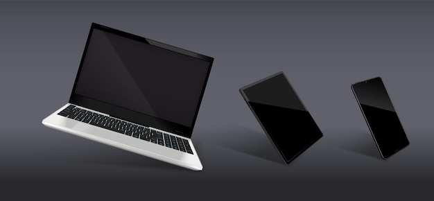 Realistische komposition besteht aus modernen laptop- und smartphone-modellen mit schwarzen glänzenden bildschirmen