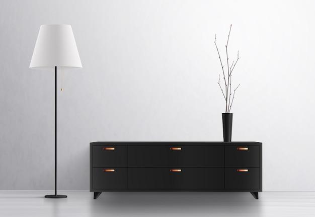 Realistische komposition der innenbeleuchtung der hausbeleuchtung mit designermöbeln und vase mit stehlampe und schließfach