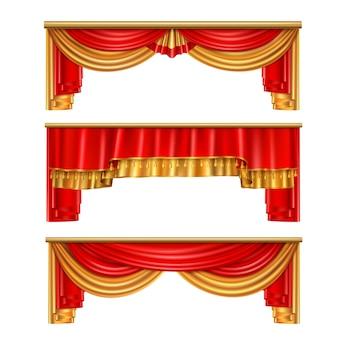 Realistische komposition der luxusvorhänge mit roten und goldenen farben für theaterillustrationsillustration
