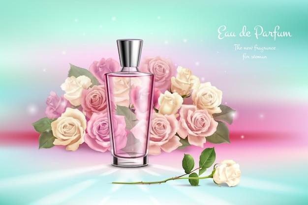 Realistische komposition mit rosenstrauß-parfümillustration