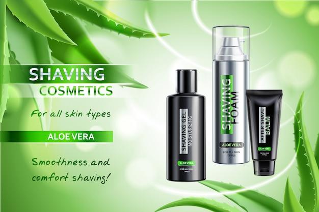 Realistische kosmetik, die produkte mit aloe vera-werbungszusammensetzung auf unscharfem grün mit blattillustration rasiert