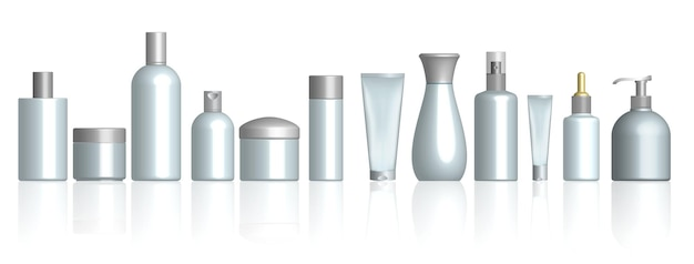Realistische kosmetikflasche isoliert oder kosmetikpaket weiß