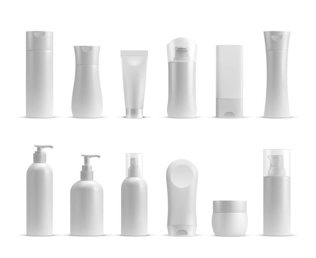 Realistische kosmetikflaschen, cremetiegel und tubenmodelle. shampoo, lotion, hautpflege, schönheits- und hygieneplastikvektor. set aus container-shampoo, beauty-lotion und realistischer plastikröhrenillustration