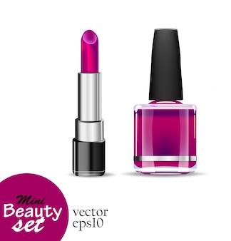 Realistische kosmetikprodukte. ein tubenlippenstift und ein flaschennagellack sind gesättigte lila farbe, die auf einem weißen hintergrund isoliert wird. illustrationen mini beauty set.