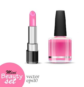 Realistische kosmetikprodukte. ein tubenlippenstift und ein flaschennagellack sind gesättigte rosa farbe, die auf einem weißen hintergrund isoliert wird. illustrationen mini beauty set.